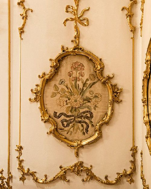 Detail Of The Wall Paneling In The Breakfast Room In Schonbrunn