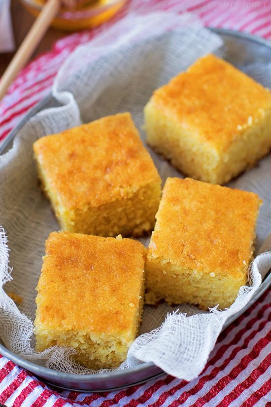 This really is the best buttermilk cornbread! It's moist, tender and sweet. No matter how you slice it, it's always devoured within minutes!