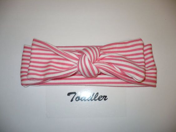 Toddler Headband Pink Stripes Headwrap by Goodtreasures123 on Etsy