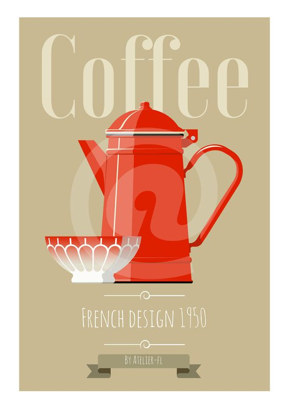 affiche poster vintage t l charger d coration cuisine ann es 50 cafeti re bol rouge et taupe. Black Bedroom Furniture Sets. Home Design Ideas