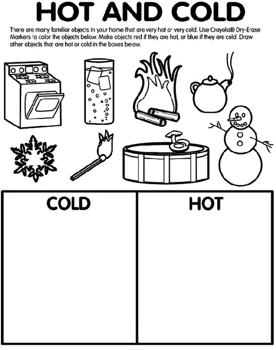 math worksheet : hot and cold coloring page  teach  pinterest  crayola coloring  : Hot And Cold Worksheets For Kindergarten
