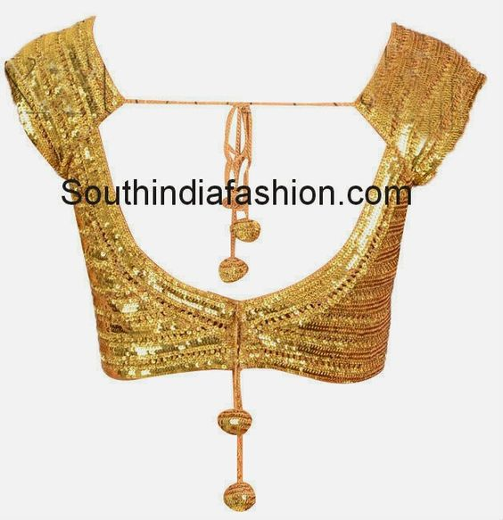 Readymade Gold Sequins Blouse ~ Celebrity Sarees, Designer Sarees ...