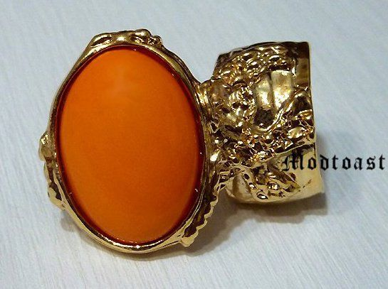 Arty Oval  Orange Gold Chunky Armor Knuckle Art Statement Ring @modtoast