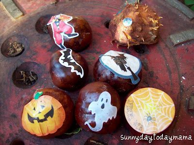 Halloween conker characters (and a hedgehog) http://sunnydaytodaymama.blogspot.co.uk/2011/10/halloween-conker-characters-and.html