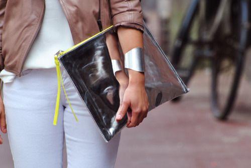 metallic + leather