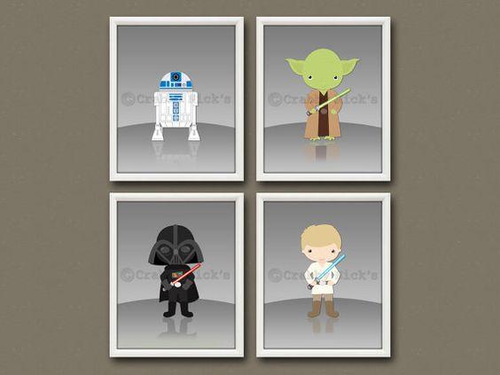 8x10 (4) star wars nursery prints - nursery art, children's art