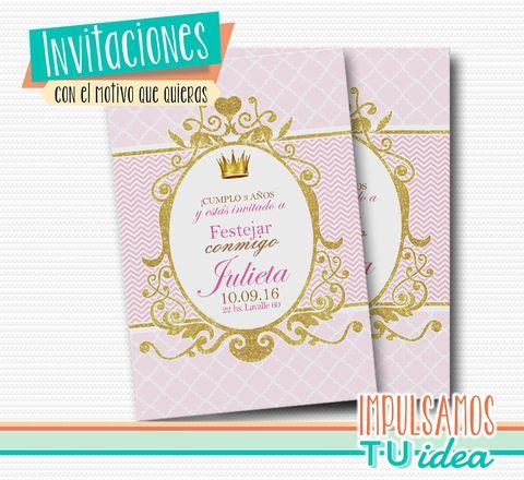 Cumple coronita - Fiesta princesa invitación para imprimir