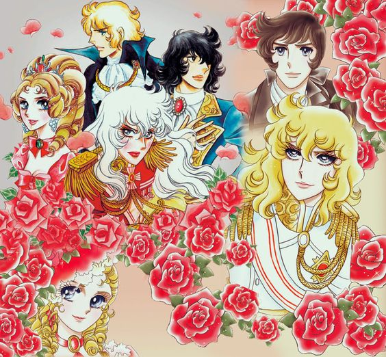 赤いバラに囲まれている主要キャラクターたちのベルサイユのばらの壁紙