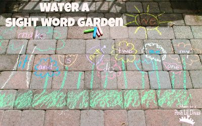 Water a Sight Word Garden - outside play & sight word review. Use with letters, numbers, shapes & more
