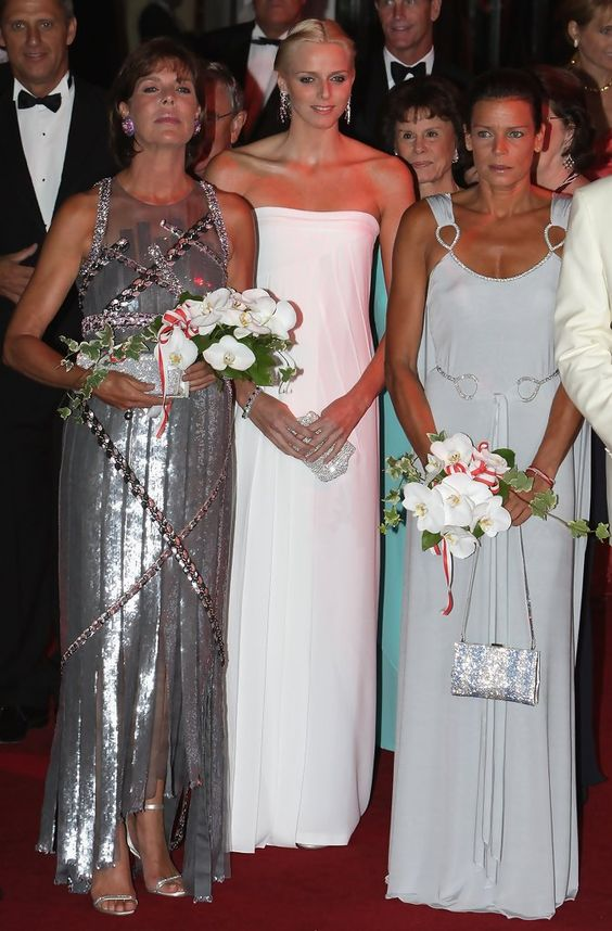 Princess Caroline of Hanover, Charlene Wittstock, Princess Stephanie of Monaco attend the Red Cross ball on July 27, 2007 in Monte Carlo Monaco (July 26, 2007 - Source: Pascal Le Segretain/Getty Images Entertainment)