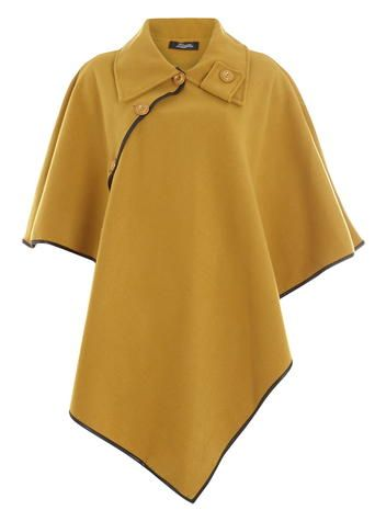 **Fever Fish Mustard Asymmetric Wool Cape