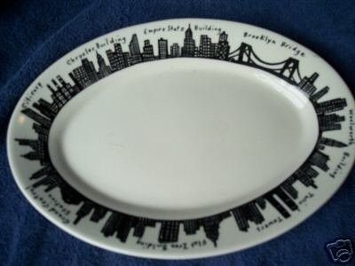 Homer Laughlin platter is a gorgeous white with black New York skyline border including the twin towers. On the back of the plate it reads Made expressly for Fishs Eddy | WorthPoint