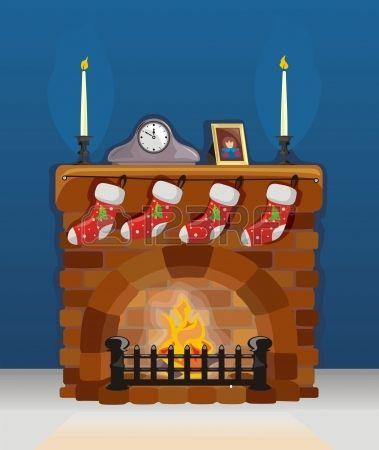 Chimenea en navidad y a o nuevo con la decoraci n foto - Adornos para chimeneas ...