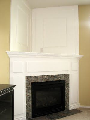 I hate that big awkward space above our corner fireplace!! | DIY  Inspirations | Pinterest | Fireplace inserts, In