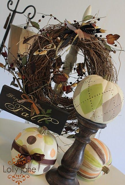 argyle pumpkin: Fall Decoration, Patterned Pumpkin, Fall Pumpkin, Argyle Pumpkin, Holiday Idea, Fall Display, Cute Pumpkin
