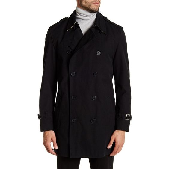 Ike Behar Huron Trench Coat ($170) ❤ liked on Polyvore featuring men's fashion, men's clothing, men's outerwear, men's coats, black, mens fur lined coat, mens double breasted coat, mens trench coat and mens double breasted trench coat