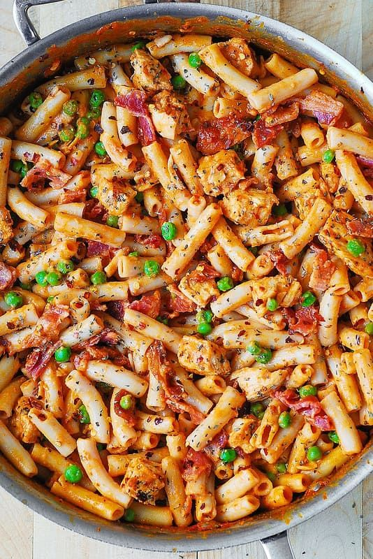 Spicy Chicken Pasta With Bacon And Peas Made In A Large All Clad Skillet Spicy Chicken Pasta Bacon Pasta Chicken Pasta