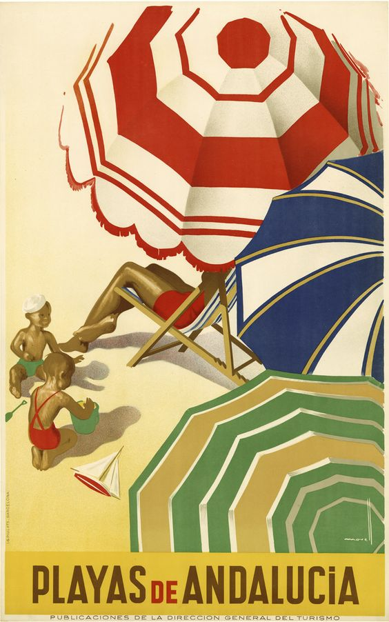 Playas de Andalucia, Spain - Vintage travel poster, probably about 1930 - The parasols are still as colourful as ever! #beach #essenzadiriviera.com #spiaggia: