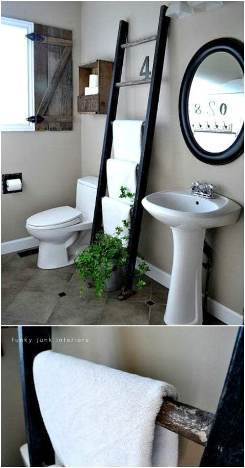 Hanging Wooden Ladder Hand Towel Ladder Towel Rack Towel Farmhouse Towel Bars Bathroom Decor Apartment Towel Rack