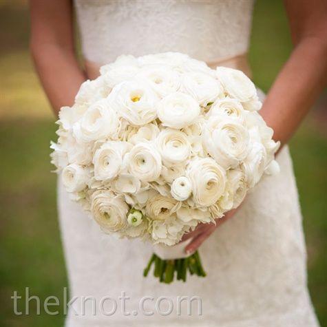 White ranunculus, peony and hydrangea bouquet.
