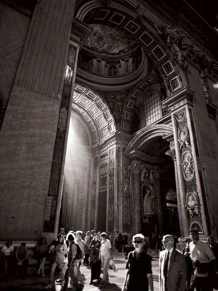 Retro Rome: Visitors atSt. Peter's Basilica, Italy. Photograph by Ken Kochey