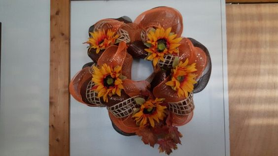 Deco mesh wreath with sunflowers