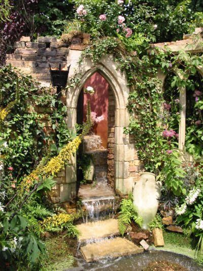 """ruin (or constructed """"ruin"""") converted to water feature.  just think about what within this special place!"""