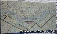 Concrete Table Top and Wall Art, White Concrete with Inlaid Ariel View of Montana's 'Bighorn River'...Done in Crushed Recycled Colored Glass...done by artisan James McGregor with McGregor Designs