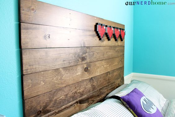 Headboard! Rustic Wood and 8Bit Hearts  Our Nerd Home  DIY Zelda