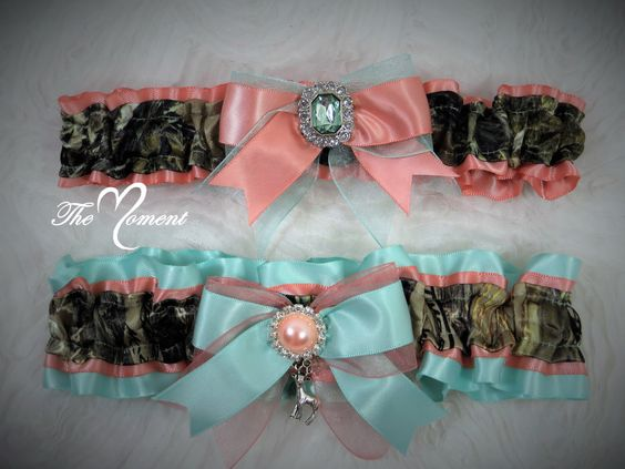 Aqua & Coral Camouflage Garter Set for Wedding or Prom by- TheMomentWeddingBoutique
