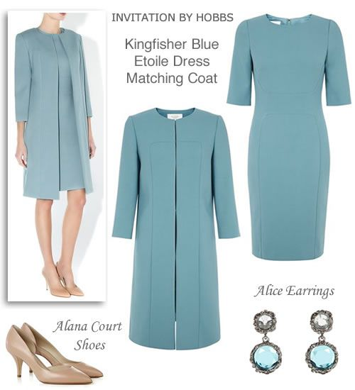 Light Blue Shift Dress and Matching Coat Spring Wedding Outfit