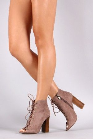 Suede Lace-Up Studded Peep Toe Booties