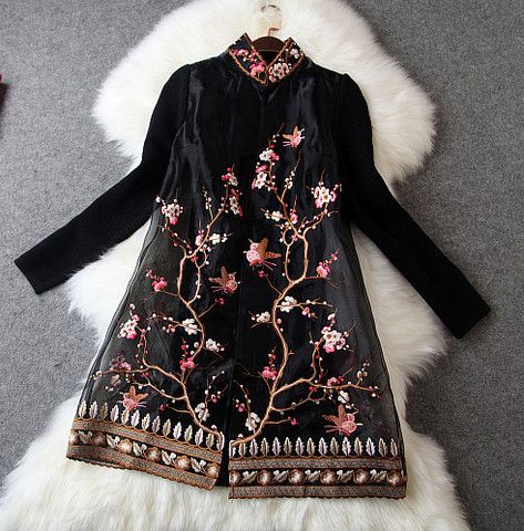 Embroidered Lace Jacket in Black
