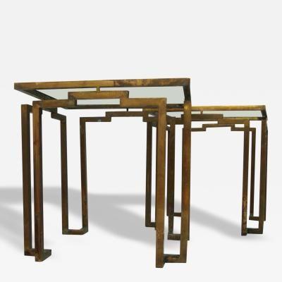 Arturo Pani Pair of Brass Side Tables Attributed to Arturo Pani