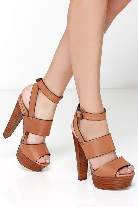 Steve Madden Dezzzy Tan Leather Platform High Heels | Steve madden ...