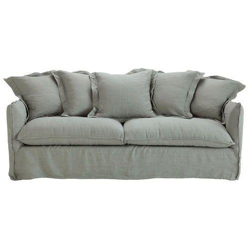 Sofa 3-/4-Sitzer aus Leinen, grau Barcelone