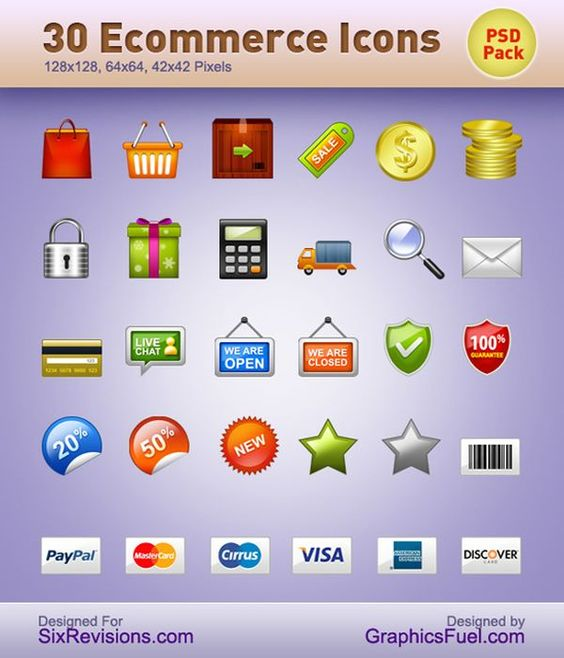 Download: http://sixrevisions.com/freebies/icons/30-e-commerce-icons/