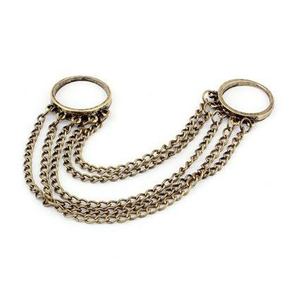 Beauty hanging from your fingers~Among the unique styles of women's rings, double banded chained rings or slave rings has become a fashionable favorites among the fashion rings trends that will be popular in 2012 fashionistas.Color Vintage GoldSize Free Size/ 5 chains about 5 inchesMaterial Alloy [$9.99]
