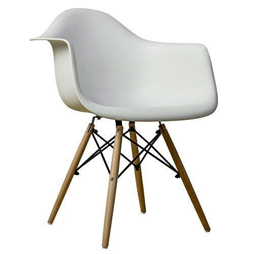 Gia White Side Dining Chair With Arm 1 Pack Eames Style Nature