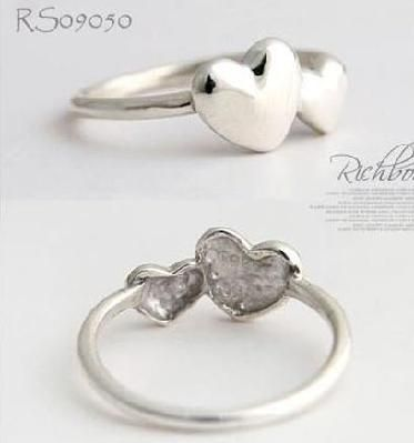 Silver Color Double Hearts Fashion Ring Size 5 FREE S/H!