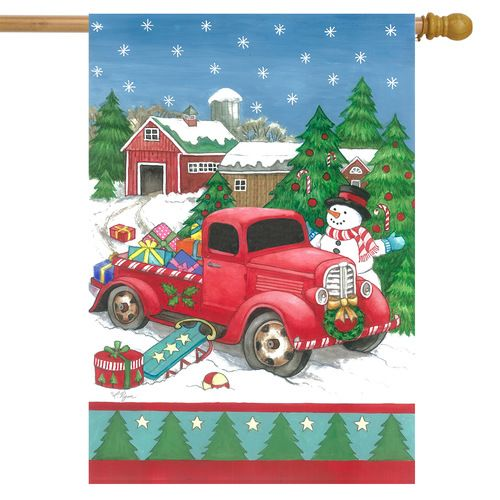 Festive Truck Christmas House Flag In 2020 Christmas Garden Flag Small Garden Flags Flag Decor