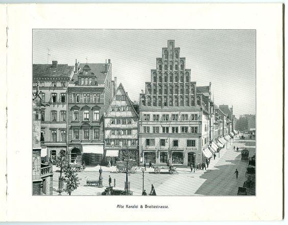 """""""Hannover – 26 Ansichten nach künstlerischen Aufnahmen"""" von Karl F. Wunder. – Alte Kanzlei & Breitestrasse."""