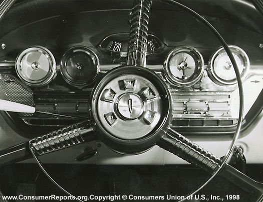 The Edsel, 1958  Of the automatic transmissions we evaluate, the Edsel's Teletouch is the most difficult to get used to: The controls consist of a series of nearly identical push buttons at the center of the steering wheel.