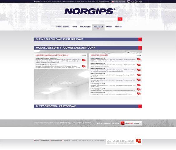 Norgips - projekt przykładowej podstrony serwisu firmowego