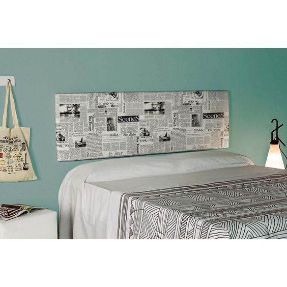 Cabecero tapizado Esencial alto 50 tela Prensa. Es un cabecero colgado tapizado en una original y atractiva tela ideal para combinar con muebles de cualquier estilo.