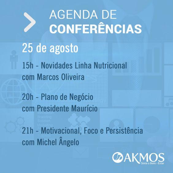 Confira a Agenda de Treinamentos Akmos de hoje, 25/08/2014 Link: http://www.gvolive.com/conference,akmosbr  Confira também a agenda completa dos Treinamentos Akmos dessa semana: http://bit.ly/1pRx0bD