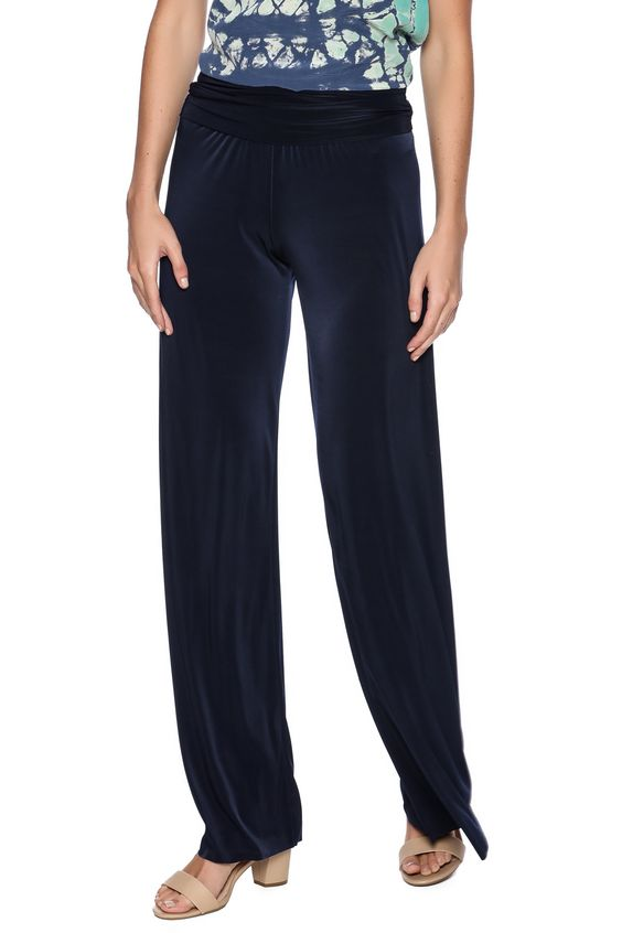 """Navy palazzo pants with a fold over waist. Machine wash in cold and line dry.    Approx. Measures: 36"""" inseam.   Navy Palazzo Pants by Uptown. Clothing - Bottoms - Pants & Leggings - Flare & Wide Leg Texas"""