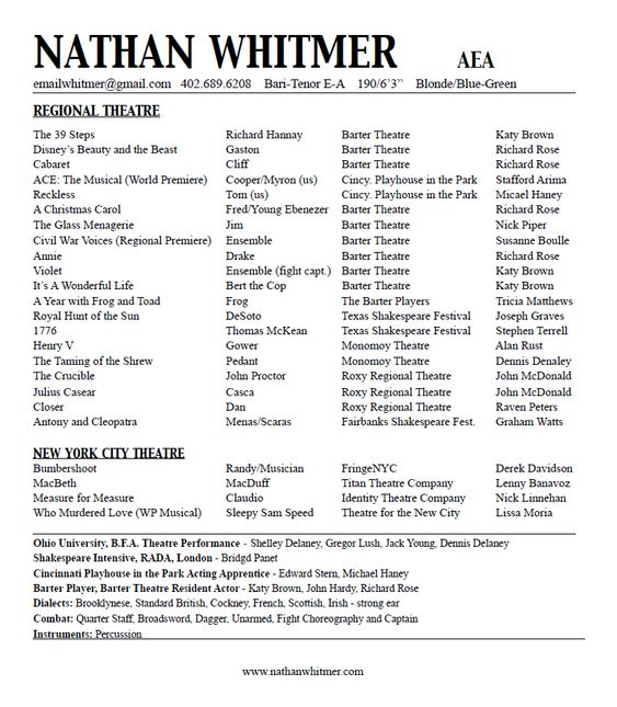 acting resume nathan whitmer actor aea acting class stuff pinterest