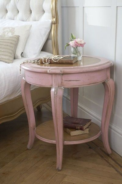 painted pink end table - beautiful
