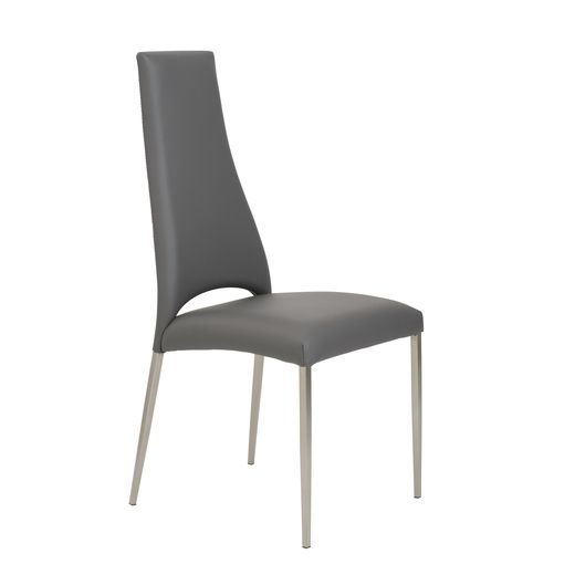 Euro Style Tara Side Chair (Set of 4) in Gray/Brushed Stainless